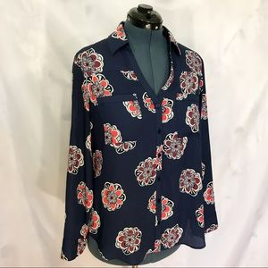 Blue Button Up Shirt with Pink Floral Pattern